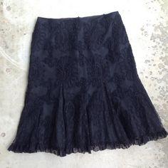 """Nanette Lepore black lace skirt Stunning skirt from Nanette Lepore. Black lace overlaying a black lining. Ruffle detail on hem. 16"""" waist, 23"""" total length. Nanette Lepore Skirts Midi"""