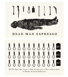 Dead Man Espresso - Melbourne, Loyalty Card - nice branding by webuyyourkids Loyalty Card Design, Loyalty Cards, Barista, Travel Cards, Restaurant Branding, Cards For Friends, Photography Branding, Name Cards, Graphic Design