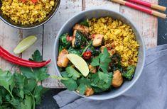 Bloemkoolrijst met kip en spinazie Guacamole, Cobb Salad, Grains, Good Food, Food And Drink, Mexican, Vegan, Dinner, Ethnic Recipes
