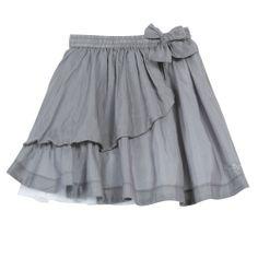 Jupe voile de coton soie et tulle gris moyen - Edition spéciale