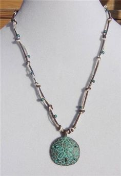 Knotted Leather Necklace Greek Green Patina Sand Dollar Charm Hemp Rope 537 ~~~