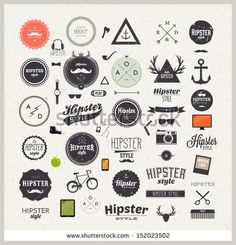 Hipster style infographics elements and icons set for retro design With bicycle, phone, sunglasses, mustache, bow, anchors, apple and camera Vector illustration