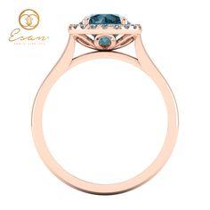 Inel din aur cu diamant albastru si diamante ES151