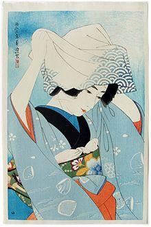 """""""gathering shellfish at low tide"""" (1931) by ito shinsui"""