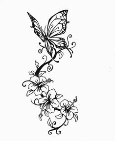 Tattoo Vorlage mit Schmetterling und Hibiskus Blumen