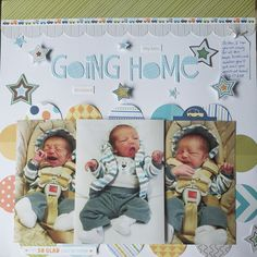 Layout of taking my son home from the hospital. This layout was made using Bella Blvd Cute Baby Boy and My Mind's Eye Twinkle Twinkle Little Boy. Baby Girl Scrapbook, Baby Scrapbook Pages, My Scrapbook, Scrapbook Designs, Scrapbook Page Layouts, Baby Journal, Baby Album, Baby Memories, Going Home
