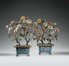 Three Pairs of Chinese Harstone Embel- lished, Ornamental Trees. Late Qing Dynasty. Tallest 18.5in. Sotheby's Auction Estimation of $6,000-8,000