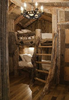 So cozy ... and wonderfully rustic.  rustic fairy tale architecture wood interior bed loft lofted residential