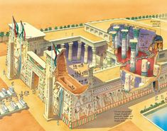 Ancient Egyptian temples - Q-files Encyclopedia Life In Ancient Egypt, Ancient Egypt History, Old Egypt, Ancient Egyptian Architecture, Historical Architecture, Egyptian Temple, Egyptian Art, Le Palais, Religion