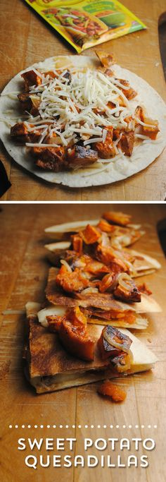 Need a meal idea in a hurry? These Sweet Potato Quesadillas from are the perfect solution! Hearty, delicious, fast and simple to put together, these quesadillas pack a punch! Sweet Potato Quesadilla, Healthy Meals, Healthy Recipes, Taco Casserole, Man Food, Roasted Sweet Potatoes, Quesadillas, Vegetable Recipes, Spice Things Up