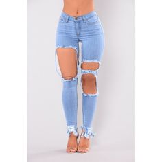 Holy Grail Distressed Jeans Light ($20) ❤ liked on Polyvore featuring jeans, destroyed jeans, destruction jeans, distressing jeans, mid rise jeans and distressed jeans