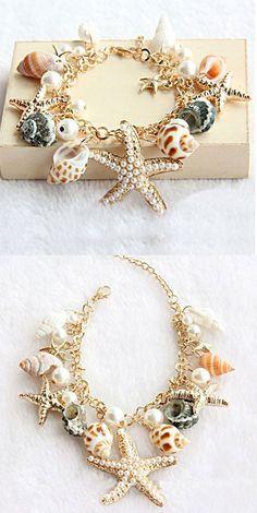 so unique bracelet ! Conch Starfish Summer Beach Bracelet for big sale! #beach #bracelet #starfish #conch