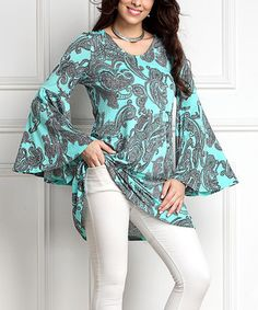 Another great find on #zulily! Aqua Paisley Bell-Sleeve Tunic #zulilyfinds