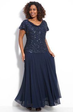 J Kara Mock Two Piece Dress (Plus) Sparkling sequins and beads cover the bodice of a gown with a draped front and back neckline and short flutter sleeves. The flouncy floor-grazing skirt has a sheer overlay. Free Shipping & Returns...