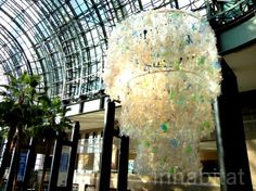 Chandelier in the World Financial Center made from thousands of plastic bottles - I miss the Winter Garden.