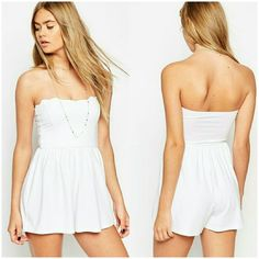 ASOS strapless Romper ASOS Bandeau Romper with Scallop Edge in White. This strapless, backless romper is made of 95% Viscose, 5% Elastane. Shorts are the perfect length for someone whos conscious about their romper being too short. Super flattering material. US size 8. Brand new with tags. Price is firm on this item. ASOS Shorts