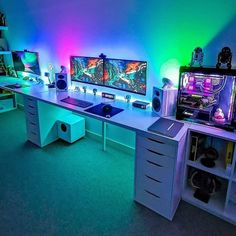 Rate this Setup ? owner Rate this Setup ? Computer Gaming Room, Computer Desk Setup, Pc Desk, Gaming Desktop, Computer Technology, Custom Gaming Computer, Gaming Pcs, Computer Build, Best Gaming Setup