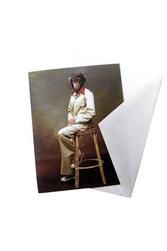 """Printed note card with a blank inside. Comes with a plain envelope and wrapped in a plastic sleeve.    Measures: 5.47"""" x 4.25"""" folded   Chimpanzee Note Card  Home & Gifts - Gifts - Stationery & Office Texas"""