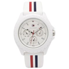 Tommy Hilfiger 1781424 Women's Dylan White Dial Silicone Strap Dual Time Watch