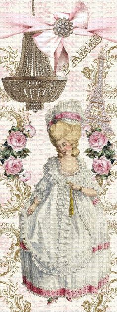 Antique Style Marie Antoinette And Roses Bookmark Design  1 You Print