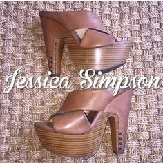 Jessica Simpson Tova Brown Platform Clog Heels 7.5 Gently worn Jessica Simpson Tova Brown Clog Heels 7 1/2 have some glue residue but you cannot really tell when you are wearing them 6 inch heels Jessica Simpson Shoes Platforms