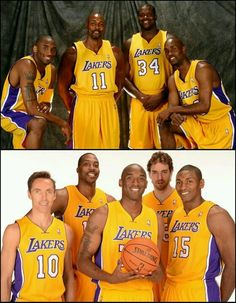 Top Picture : 2004 Lakers Lineup (L-R), Kobe Bryant ,Moses Mallone,Shaquille O'Neal,& Gary Payton. Bottom Picture: 2012 Lakers Lineup (L-R) Steve Nash,Dwight Howard,Kobe Bryant,Pau Gasol,& Metta World Peace .