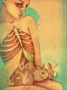 weird girl shared by yellow blue bus ▼Ў▲ Art Rules, Rabbit Art, Smart Art, Fantastic Art, Amazing, Dark Fantasy Art, Art Forms, Art Photography, Weird