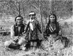 Snowy Owl Whitecotton, Native American #photo Sampson Beaver with his daughter, Frances Beaver, and his wife Leah Beaver - Assiniboine - 1906