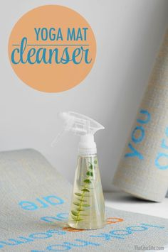 DIY: yoga mat cleaner. The local yoga studio near me uses a recipe similar to this and it smells so good. #YogaMats
