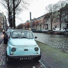 Cute car in Amsterdam, Fiat 500. I'm in love.  Instagram photo by @everdje via ink361.com