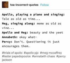 Percy Jackson Head Canon, Percy Jackson Quotes, Percy Jackson Fan Art, Percy Jackson Books, Percy Jackson Fandom, Rick Riordan Series, Rick Riordan Books, Solangelo, Percabeth