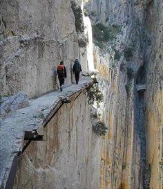 This isn't a sport but trust me if I walked it (not) I'd consider it a sport.  World's most Dangerous Path at Pailon del Diablo waterfalls, Ecudor