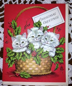 Vintage Christmas Greeting Card by Paramount Cats in A Basket EB1967 | eBay