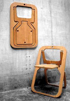 Komplett flach zusammen klappbarer Stuhl
