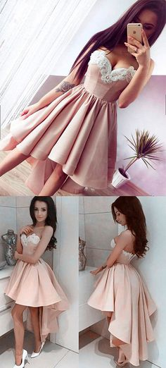 Cheap Sweetheart homecoming dresses 2017,A Line Prom Dress,High-Low Short Prom Dress,Fashion Homecoming Dress,Sexy Party Dress,Custom Made Strapless Graduation Gowns,H019