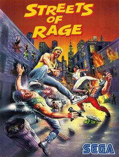 Streets Of Rage Bare Knuckle US poster Vintage Video Games, Classic Video Games, Retro Video Games, Video Game Art, Retro Games, Vintage Games, Sega Genesis, Pac Man, Game Boy