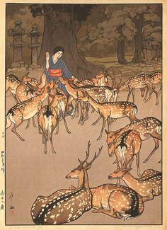 art japonais ๏ wood-block prints by hiroshi yoshida (thème des faons en forêt) Japan Illustration, Hiroshi Yoshida, Art Japonais, Japanese Painting, Japanese Prints, Japan Art, Woodblock Print, Chinese Art, Illustrations