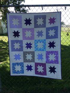 Purple Star Pattern, Plants and Pumpkins