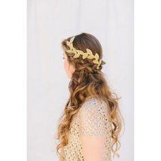 Gold Bridal Fascinator, Beaded Leaf Headband, Grecian Bridal Hair Piece, Tiara, Halo, Crown, Wedding Headpiece, Cleo Ships in 1 Month (€60) found on Polyvore