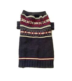 Large Dark Gray & Maroon Designer Dog Sweater
