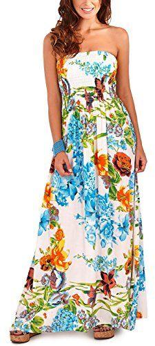 Cheap Pistachio Women's Bandeau Tropical Floral Maxi Dress X-Large (Us Blue Deals Week Summer Dresses For Women, Floral Maxi Dress, Pistachio, Strapless Dress, Casual Outfits, Medium, Tropical, Floral Designs, Long Dresses