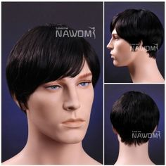 Short black for men synthetic straight hair wig