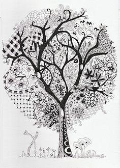 Efie goes Zentangle: art-tangle-club no 123 Zentangle Drawings, Zentangle Patterns, Art Drawings, Zentangles, Zen Doodle, Doodle Art, Art Noir, Art Sketchbook, Tree Art