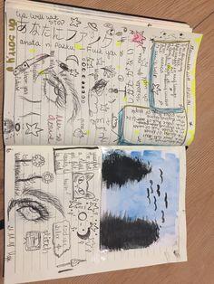 Doodle Art Journals, Art Journal Pages, Cool Art Drawings, Art Drawings Sketches, Arte Grunge, Trash Art, Art Diary, Arte Sketchbook, Funky Art