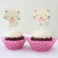 Kitty Cat Cupcake Toppers Birthday Party Pkt por MyPinwheelParty