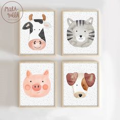 Farm Animals - Cow, dog, cat and pig - Nursery Farm animals, baby room, watercolor animals, farm, nursery room, decoration, wall print, kids • Farm Animals illustrations. This set includes 4 illustrations (cow, dog, cat, pig) • This lovely illustrations for children, kids and baby room is perfect