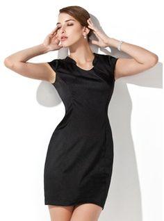 Sheath/Column Scoop Neck Short/Mini Charmeuse Cocktail Dress