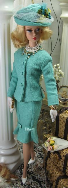 Tiffany for Silkstone Barbie. Loathe the doll but LOVE the entire outfit ensemble!!! Gloves, shoes and hat; I'm all about that!
