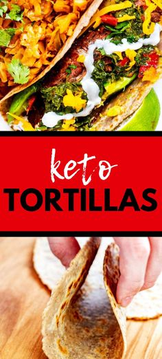 """This Almond Flour Keto Tortilla Recipe is simple to make and is the perfect soft, pliable tortilla for tacos, quesadillas, and wraps. You won't believe how much like the """"real thing"""" these are in taste and texture. Try them once, and you will be hooked! #glutenfree #lowcarb #keto"""