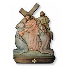 Vía Cruz 15 estaciones en relieve madera pintada a mano | venta online en HOLYART